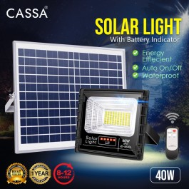 Cassa Hi Quality Led Solar [40W-YELLOW Warm Light] Tempered Glass IP67 Waterproof Outdoor Spotlight Floodlight Fast Charging [ A-Level Solar Panel ] Usage Up to 8-12Hours Come with 180 Degree Rotation Bracket (1 Year Warranty)