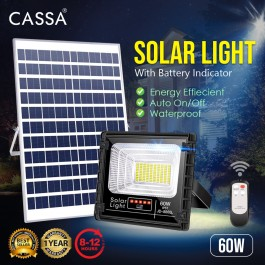 Cassa Hi Quality Led Solar [60W] Tempered Glass IP67 Waterproof Outdoor Spotlight Floodlight Fast Charging [ A-Level Solar Panel ] Usage Up to 8-12Hours Come with 180 Degree Rotation Bracket (1 Year Warranty) - Solar Green Renewable Energy Saving Lighting