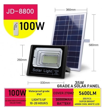 Cassa Hi Quality Led Solar Spotlight Flood Light 100W 10-20Hours 1Year Warranty