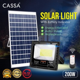 Cassa Hi Quality Led Solar [200W] Tempered Glass IP67 Waterproof Outdoor Spotlight Floodlight Fast Charging [ A-Level Solar Panel ] Usage Up to 8-12Hours Come with 180 Degree Rotation Bracket (1 Year Warranty)
