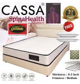 Cassa Goodnite Spinahealth [Super Value Offer+10 Year Warranty] Selesa 9.5 inch Posture Spring Single/Super Single/Queen/King Mattress Only (Free 2 Unit Pillows)