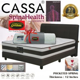 Cassa FULL SET WITH BED Goodnite [Super Value Offer+10 Year Warranty] Devato 12 inch Plush Top 3 Zone Pocket Spring Queen/King Mattress Only + FREE MOSFREE COMFY TOPPER