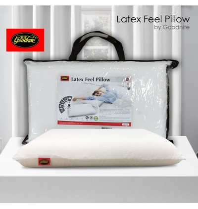 [3 Years Warranty] Goodnite Latex Feel Pillow with Free Pillow Hand Carry Bag (Allergen Free Green Nature Breathable Premium Quality with Anti-Dust Mite)