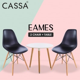 Cassa Eames Set Dining Tea Office Meeting Table Pedestal Desk (Round Table 60 cm together with 2 unit Eames Black Seat Natural Wood Legs Chair)