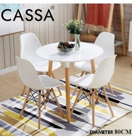 Cassa Eames Stylish Discussion / Meeting / Dining / Hi-Tea 60cm Round Table together with 4 unit Eames White Seat Natural Wood Legs Chair