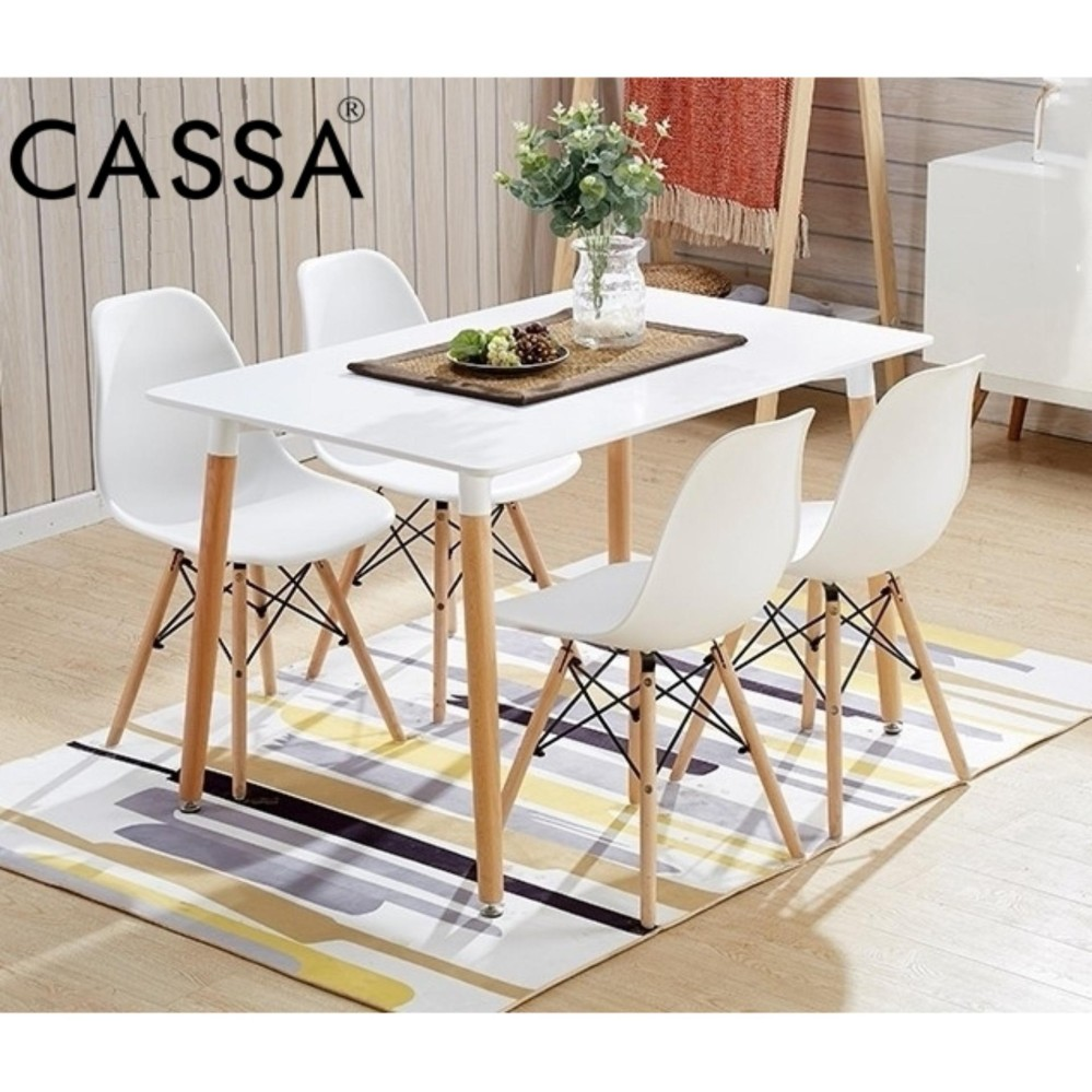Dining Set For 4: Cassa Eames White Stylish Dining Set Of 4 (Square Table
