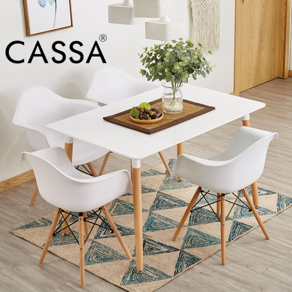 Table Only Cassa Eames Rectangular White Dining Table